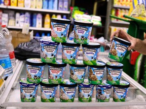 A man buys Ben & Jerry's ice cream in Jerusalem on July 20, 2021.