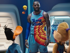 LeBron James surrounded by his new cartoon friends in Space Jam: A New Legacy.