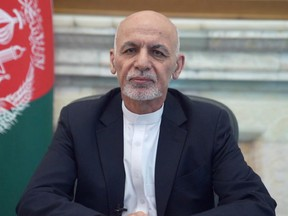 Afghanistan's President Ashraf Ghani addresses the nation in a message in Kabul, Afghanistan on Aug. 14, 2021.