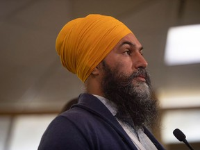 NDP leader Jagmeet Singh speaks to the media at a press conference in Cowessess, Sask, August 20, 2021. - Jagmeet Singh, who heads the New Democratic Party (NDP), is one of Trudeau's rival and could win votes for the Liberals among young and urban voters in the 20th of September General election.