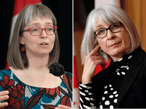 Alberta's chief medical officer of health Dr. Deena Hinshaw, left, and federal health minister Patty Hajdu.