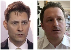 Michael Kovrig, left, and Michael Spavor, as seen in a 2019 video.