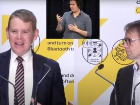 """New Zealand's COVID-19 response minister, Chris Hipkins (left), made an unfortunate slip of the tongue on Sunday, telling residents they should socially distance when they """"spread their legs."""""""
