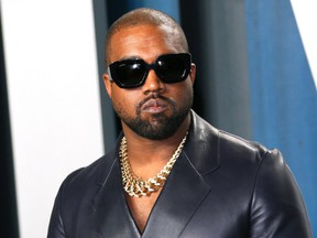 In this file photo taken on February 9, 2020 Kanye West attends the 2020 Vanity Fair Oscar Party following the 92nd annual Oscars at The Wallis Annenberg Center for the Performing Arts in Beverly Hills.