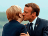 """Before anyone knew what COVID-19 was, French President Emmanuel Macron in 2019 welcomed German Chancellor Angela Merkel with the common cheek kiss known as """"la bise."""""""