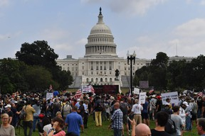 Demonstrators gather for the 'Justice for J6' rally in Washington, DC, on Sept. 18.