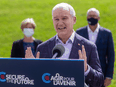Conservative Leader Erin O'Toole during a campaign stop at a winery in London, Ont., on September 17, 2021.