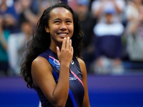 Leylah Fernandez reacts during the trophy presentation after the women's singles final of the 2021 U.S. Open tennis tournament at USTA Billie Jean King National Tennis Center.
