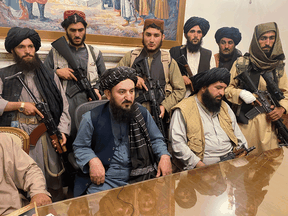 Taliban fighters take control of Afghan presidential palace after the Afghan President Ashraf Ghani fled the country, in Kabul, Afghanistan, Aug. 15, 2021. At this point, no country has recognized the country's Talban officially as rulers of the country.