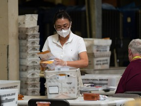 A worker processes mail-in ballots at the Orange County Registrar of Voters during the gubernatorial recall election in Santa Ana, California, on Tuesday, Sept. 14, 2021.
