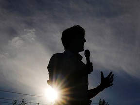Canada's Liberal Prime Minister Justin Trudeau during an election campaign stop in Surrey, British Columbia,  Sept. 13, 2021.