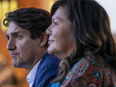 Justin Trudeau listens to Chief Rosanne Casimir during a Monday visit to Tk'emlúps te Secwépemc.