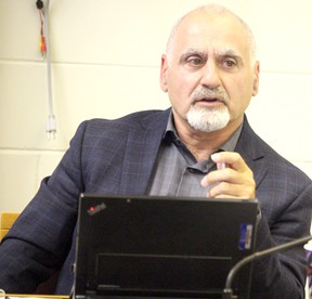Superintendent of business Chris Spina speaks during a meeting of Huron-Superior Catholic District School Board trustees on Wednesday, Sept. 12, 2018 in Sault Ste. Marie, Ont. (BRIAN KELLY/THE SAULT STAR/POSTMEDIA NETWORK)