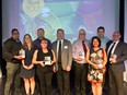 The winners of the 20th annual Airdrie Business Awards pose together at the gala.