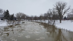 The Thames River is shown in downtown Chatham on Monday. An ice jam remains at the mouth at the neighbouring community of Lighthouse Cove, but conditions have been holding. (Trevor Terfloth/The Daily News)