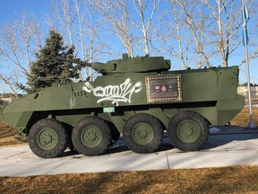 On March 22, it was discovered that the LAV III monument in front of the Nose Creek Valley Museum had been vandalized. - Submitted