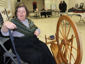 Sharon Rideough demonstrate her spinning abilities at the Heritage Day display at the Pembroke Mall on Saturday, Feb. 23, 2019. The event is held jointly by local museums and heritage groups.