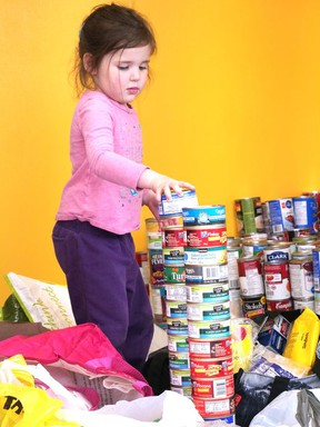 Canned goods can pile up during a food drive. Steel City Sports has one underway.