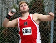 Blake Foster of Northern competes in the junior boys' shot put during Day 1 of the LKSSAA track and field championship at the Chatham-Kent Community Athletic Complex in Chatham, Ont., on Tuesday, May 14, 2019. Foster had a winning throw of 15.80 metres. Mark Malone/Chatham Daily News/Postmedia Network