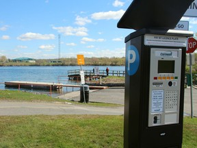 The newly-installed parking kiosk installed at the RCAFA Wing boat launch pictured on Thursday May 16, 2019 in Cornwall, Ont. Alan S. Hale/Cornwall Standard-Freeholder/Postmedia Network