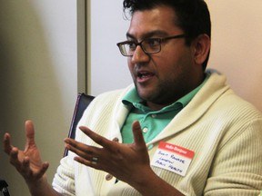 Dr. Sudit Ranade, Lambton County's medical officer of health, is shown in this file photo speaking at a health care roundtable. Ranade is questioning methods used in a recently published study showing a significantly higher incidence of a type of leukemia in Sarnia, and four other Ontario cities.