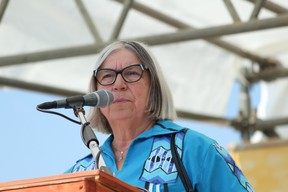 Audrey Poitras, president of the Métis Nation of Alberta, speaks at the First Nation, Métis, Inuit Festival at the McMurray Métis grounds on Friday, June 21, 2019. Vincent McDermott/Fort McMurray Today/Postmedia Network