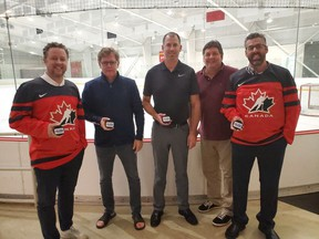 Jamie Fawthrop, Colts GM Ian McInnes, Jeff Beck, Lorne Taillon and Jason Lavalee celebrate the decision to have Cornwall host the 2020 World Jr. A Challenge on Wednesday September 18, 2019 in Cornwall, Ont. Alan S. Hale/Cornwall Standard-Freeholder/Postmedia Network