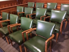Jury chairs at the Brantford Superior Court of Justice.