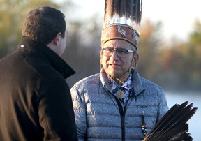 Mayor Christian Provenzano and Batchewana First Nation Chief Dean Sayers speak at Algoma Sailing Club in Sault Ste. Marie, Ont., on Tuesday, Oct. 8, 2019. (BRIAN KELLY/THE SAULT STAR/POSTMEDIA NETWORK)