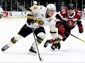 Sarnia Sting's Jamieson Rees (39) drives to the 67's net ahead of Ottawa's Joseph Garreffa (24) in the first period at Progressive Auto Sales Arena in Sarnia, Ont., on Sunday, Nov. 17, 2019. Mark Malone/Chatham Daily News/Postmedia Network