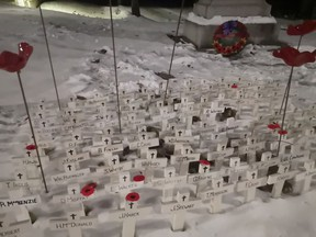 A sea of white crosses was placed at the Lucknow Library during the Remembrance Day ceremony on Monday, November 11. Hannah MacLeod/Lucknow Sentinel