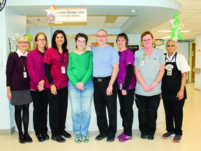 From left:  Physiatrist, Dr. Catherine Ballyk, Occupational Therapists, Brooke Stewart and Nina Malatesta, Susan and her husband Allan McInnis, Physiotherapist, Lynn Zammit, ESA, Pat Oldenburg, Nutrition Services, Sandy Sandhu.