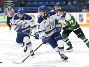 Chase Stillman, of the Sudbury Wolves, breaks to the net during OHL action against the London Knights at the Sudbury Community Arena in Sudbury, Ont. on Friday December 20, 2019.