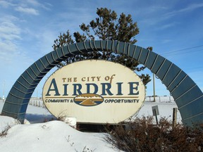 A sign greeting travellers to the community of Airdrie. Jim Wells/Calgary Sun/QMI Agency