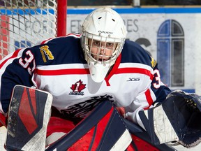 Cornwall Colts goaltender Rico DiMatteo, during play against the Kanata Lasers on Monday February 17, 2020 in Cornwall, Ont. Cornwall lost 6-1. Robert Lefebvre/Special to the Cornwall Standard-Freeholder/Postmedia Network