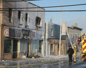 A local woman was in hospital with serious injuries following an overnight fire at the Century 21 office and apartment building  in downtown Kenora, on March 18. Power outages were reported in some buildings in the downtown area. First Street was closed to traffic.