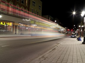 A Kingston Transit bus drives down Princess Street at Montreal Street in Kingston on Thursday March 19, 2020. Ontario is heading to another lockdown where only essential services will be permitted to open. (Ian MacAlpine-Whig-Standard/Postmedia Network)