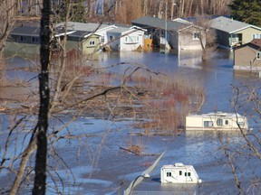The flooded Ptarmigan Trailer Park in downtown Fort McMurray on Wednesday, April 29, 2020. Parts of downtown Fort McMurray began flooding on Sunday, April 26, 2020. Vincent McDermott/Fort McMurray Today/Postmedia Network