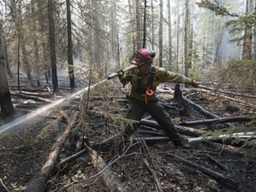 A firefighter extinguishs hotspots beside Highway 35 just south of the town of High Level on Friday, May 25, 2019. Nearly 400 firefighters, 28 helicopters, and eight air tankers continue to battle northwest Alberta wildfires.
