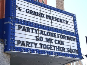The billboard marquee at The Grand in Sudbury, Ont., is asking people to follow the COVID-19 rules so people can get together sooner to enjoy entertainment events in Greater Sudbury.