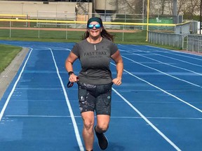 Sherwood Park's Laura Townsend recently ran 83 miles (134 kilometers) in 24 hours on the 400m track at SAP in support of the Saffron Sexual Assault Centre's Consent Event. Photo courtesy Glenda Sheard