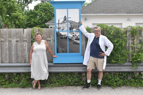 Huron East's Economic Development Officer Jan Hawley stands with heritage architect Dr. Chris Cooper as the two work together to transform a back ally in Seaforth into an art exhibit. Daniel Caudle