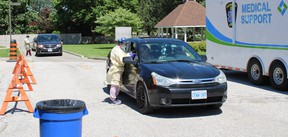 Over 150 people were tested for COVID-19 on June 11, the first day of a three-day mobile, drive-thru testing clinic held at the Wallaceburg site of the Chatham-Kent Health Alliance. Jake Romphf photo