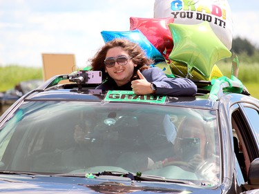 Some students at Memorial Composite's 2020 graduation ceremony chose to decorate their vehicles.