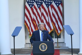 U.S. President Donald Trump delivers remarks in front of the media in the Rose Garden of the White House in Washington, D.C., on June 1. (Brendan Smialowski/Getty Images)