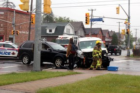 No injuries were reported Wednesday morning following a two-vehicle collision at the intersection of Algonquin Avenue and Jane Street shortly before 10 a.m. Three lanes were closed as police and firefighters cleared the scene. PJ Wilson/The Nugget
