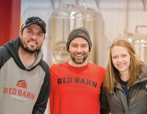 Red Barn Brewing Company co-owner and lead brewer, Dan English, left, is shown with his brother-in-law and sister co-owners Denny Vervaet and his wife Sandy. (Handout)