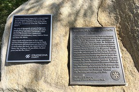 In partnership with the Salisbury United Church, Strathcona County recently installed Indigenous land acknowledgement plaques along the street north of Broadmoor Boulevard from the traffic circle to Baseline Road. Photo Supplied