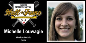 Michelle Louwagie of Dublin was inducted into the Windsor Fastpitch Softball Hall of Fame June 23. Handout