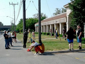 A long lineup outside the DriveTest location in the north end of Brockville after centres across Ontario reopened for limited service earlier this year. (TIM RUHNKE/The Recorder and Times)